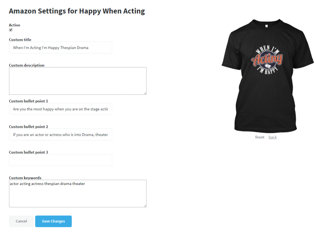 04deae20 Click on Save Changes and that is all you will need to do. Your product is  now going to be added to Amazon within 24-72 hours. Teespring aims for once  a day ...