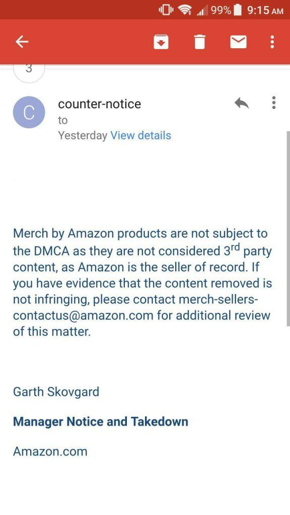 Merch By Amazon Ignoring Counter Dmca Notices  Merch Informer